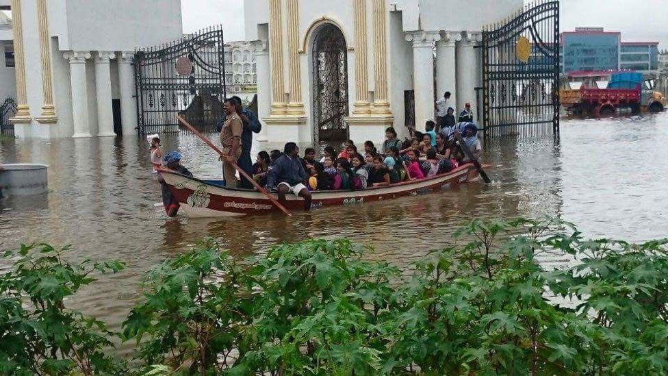 Students of Satybhama University being ferried to safety